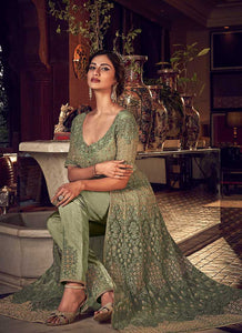 Products Dusty Green Heavy Embroidered Lehenga/ Pant Style Anarkali 2