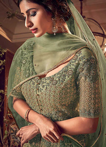 Products Dusty Green Heavy Embroidered Lehenga/ Pant Style Anarkali 3