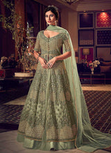 Load image into Gallery viewer, Products Dusty Green Heavy Embroidered Lehenga/ Pant Style Anarkali
