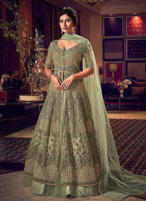 Products Dusty Green Heavy Embroidered Lehenga/ Pant Style Anarkali