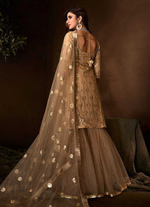 Golden Beige Sequins Work Embroidered Gharara Style Suit
