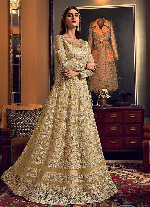 Golden Cream Heavy Embroidered Gown Style Anarkali Suit