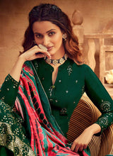 Load image into Gallery viewer, Green Embroidered Palazzo Style Suit