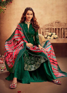 Green Embroidered Palazzo Style Suit