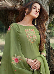 Green Embroidered Straight Pant Style Suit 2