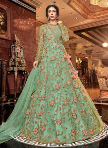 Green Floral Heavy Embroidered Anarkali