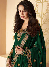 Load image into Gallery viewer, Green Heavy Embroidered High Slit Style Anarkali
