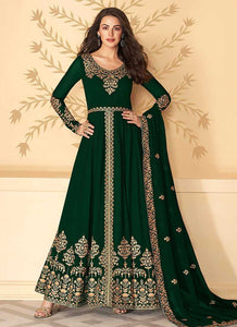 Green Heavy Embroidered High Slit Style Anarkali
