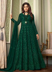 Green Heavy Embroidered Kalidar Anarkali Suit
