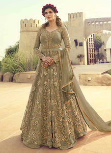 Green Heavy Embroidered Lehenga/Pant Style Anarkali