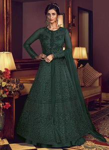 Green Heavy Embroidered Lehenga/ Pant Style Anarkali