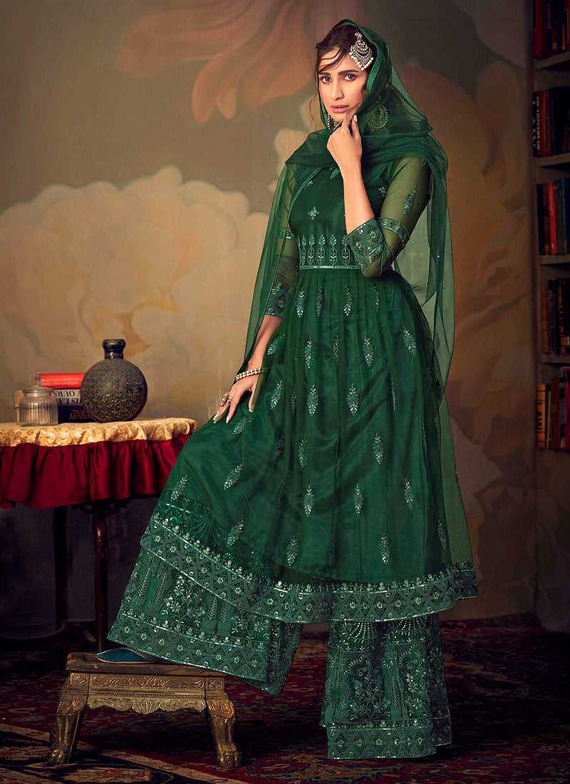 Green Heavy Embroidered Net Sharara Style Suit