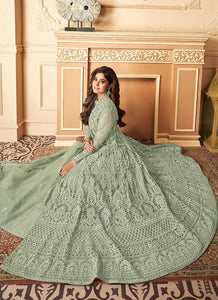 Green Lucknowi Work Embroidered Anarkali style Lehenga