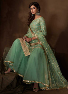 Green Sequins Work Embroidered Gharara Style Suit