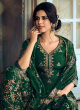 Load image into Gallery viewer, Green Silk Work Printed Gharara Style Suit