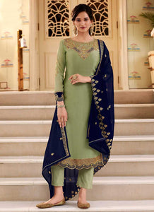 Green and Blue Heavy Embroidered Lehenga/ Pant Style Suit