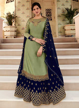 Load image into Gallery viewer, Green and Blue Heavy Embroidered Lehenga/ Pant Style Suit