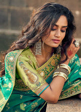 Load image into Gallery viewer, Green and Gold Embroidered Bollywood Style Saree 2
