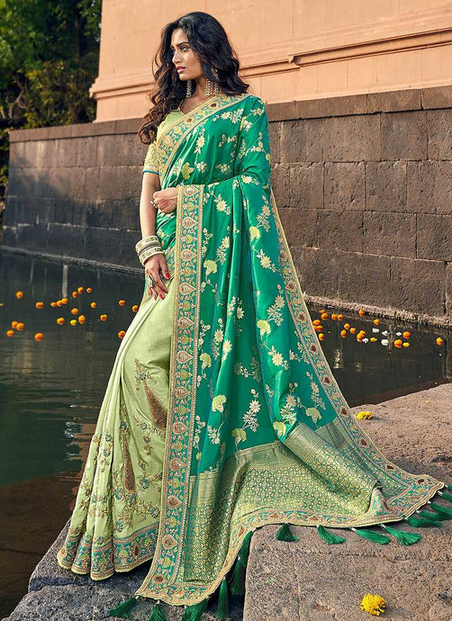 Green and Gold Embroidered Bollywood Style Saree
