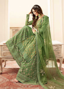 Green and Gold Embroidered Sharara Style Suit 3