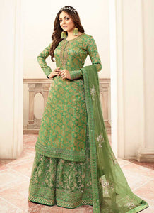 Green and Gold Embroidered Sharara Style Suit