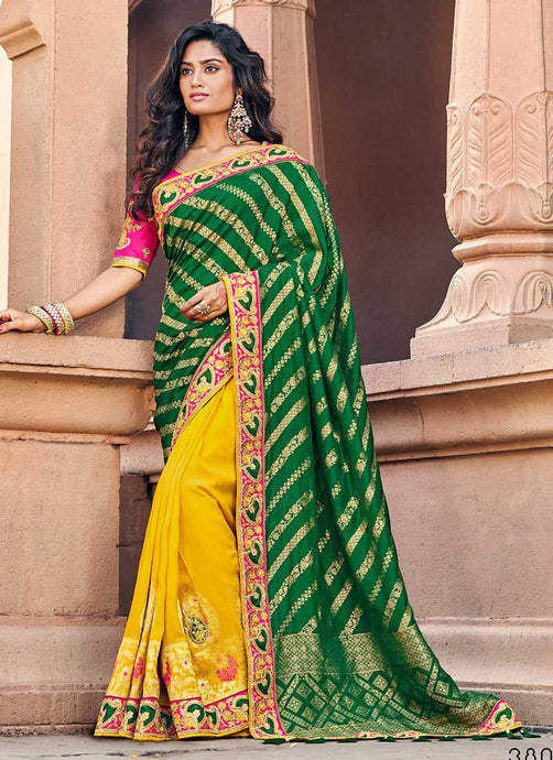 Green and Yellow Embroidered Bollywood Style Saree