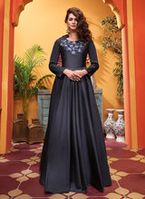 Load image into Gallery viewer, Grey Black Embroidered Art Silk Gown