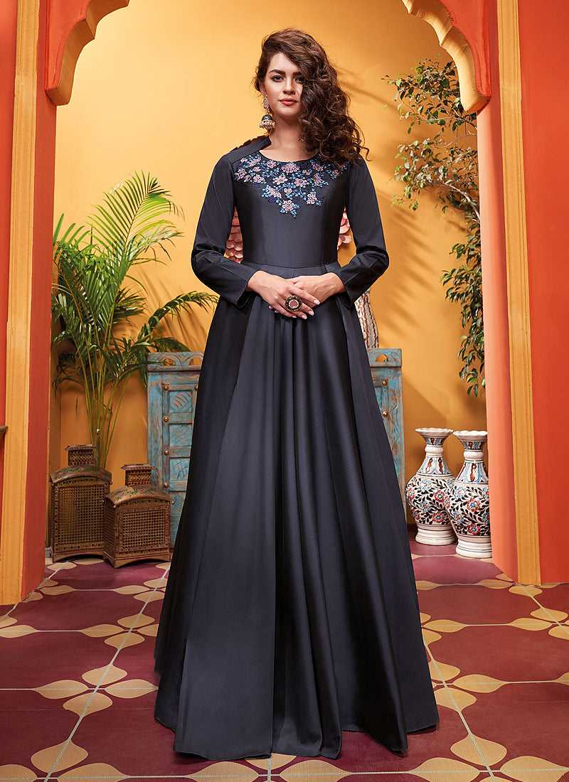 Grey Black Embroidered Art Silk Gown