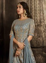 Load image into Gallery viewer, Grey Floral Embroidered Heavy Anarkali Suit