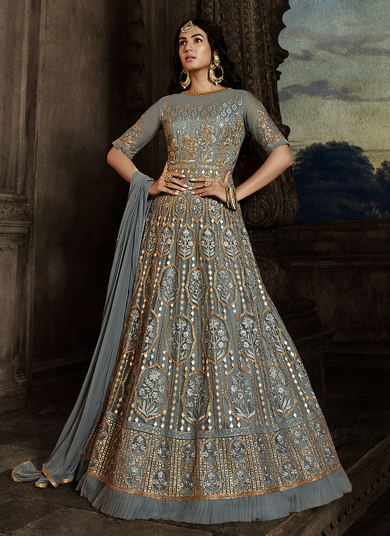 Grey Floral Embroidered Heavy Anarkali Suit