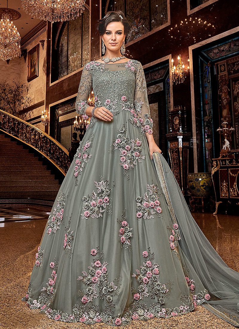 Grey Floral Pink buds Embroidered Anarkali
