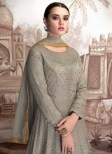 Load image into Gallery viewer, Grey Heavy Embroidered Anarkali Suit 2