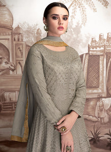 Grey Heavy Embroidered Anarkali Suit 2