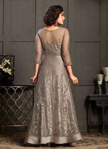 Grey Heavy Embroidered Gown Style Anarkali Suit