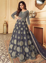 Load image into Gallery viewer, Grey Heavy Embroidered Gown Style Anarkali