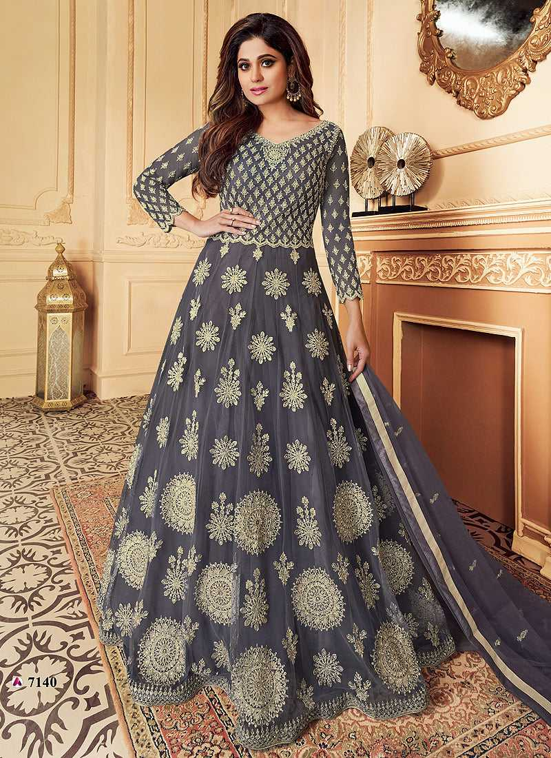 Grey Heavy Embroidered Gown Style Anarkali