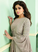 Load image into Gallery viewer, Grey Heavy Embroidered Jacket Style Anarkali Suit