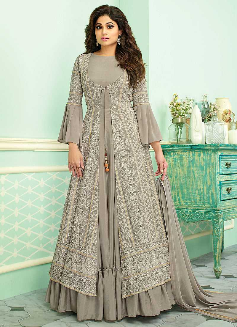 Grey Heavy Embroidered Jacket Style Anarkali Suit