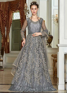 Grey Heavy Embroidered Lehenga/ Pant Style Anarkali