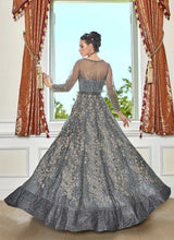 Load image into Gallery viewer, Grey Heavy Embroidered Lehenga/ Pant Style Anarkali