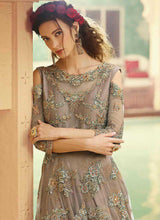 Load image into Gallery viewer, Grey Shade Heavy Embroidered Gown Style Anarkali Suit