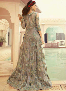 Grey Shade Heavy Embroidered Gown Style Anarkali Suit