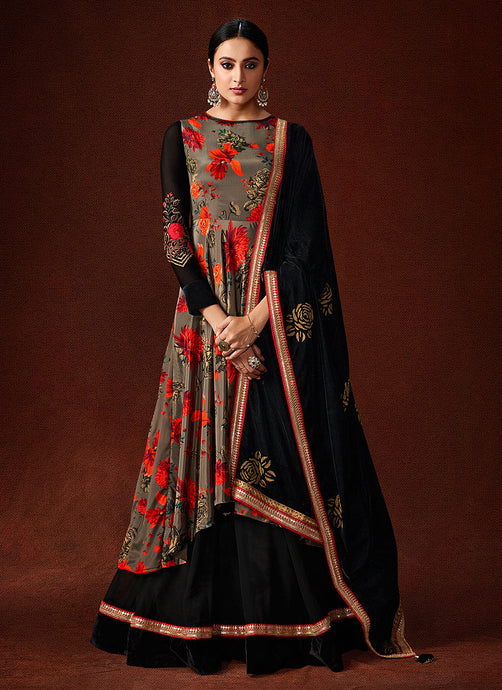 Grey and Black Embroidered Anarkali Style Gown