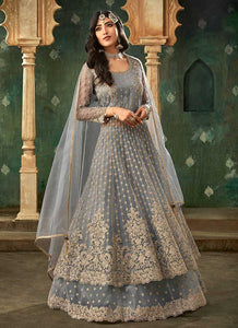 Grey and Gold Embroidered Lehenga