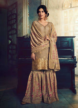 Load image into Gallery viewer, Greyish Silk Work Printed Gharara Style Suit