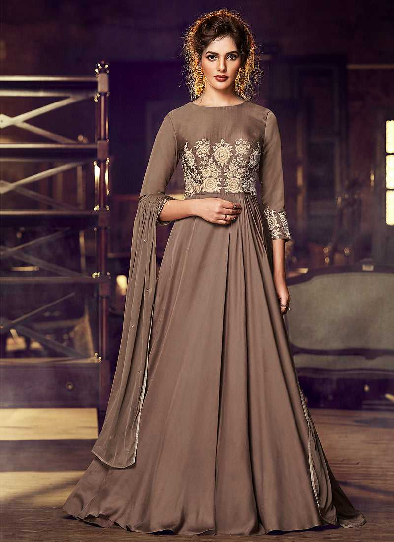 Light Brown Embroidered Anarkali Style Gown