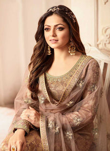 Light Brown and Gold Embroidered Sharara Style Suit 2