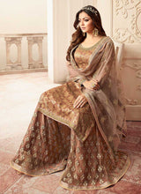 Load image into Gallery viewer, Light Brown and Gold Embroidered Sharara Style Suit 3