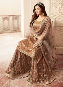 Light Brown and Gold Embroidered Sharara Style Suit 3