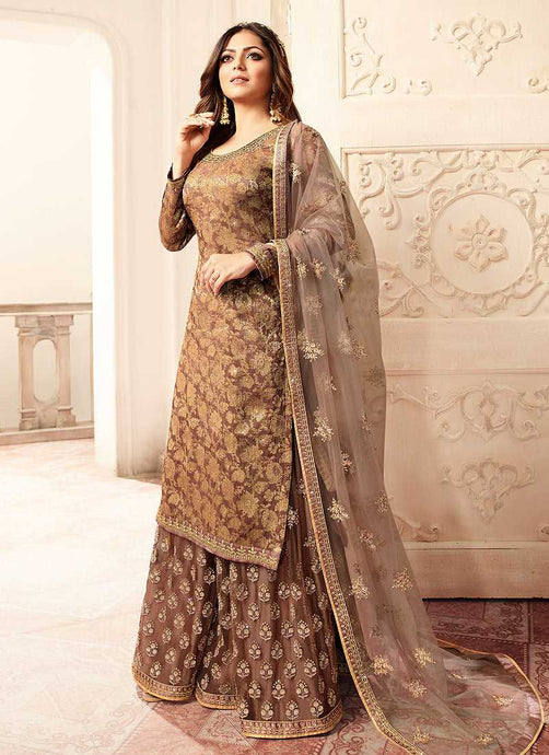 Light Brown and Gold Embroidered Sharara Style Suit